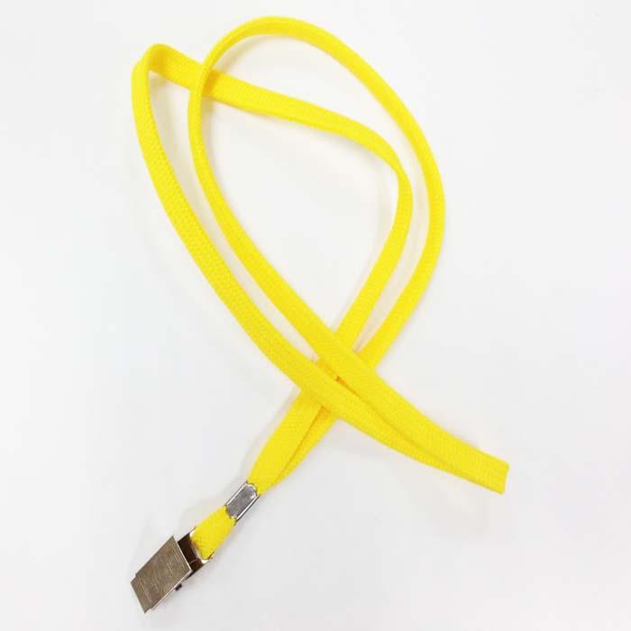 שרוך לצוואר צהוב 1 סמ עם קליפס קרוקודיל