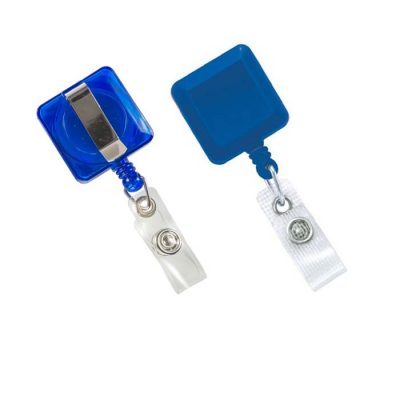 יויו קפיץ לתג (דגם מרובע) כחול
