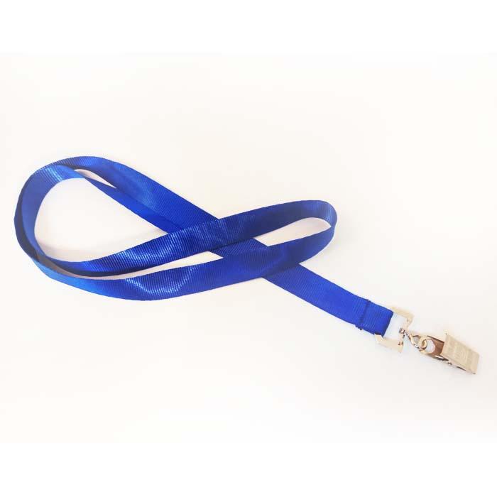 שרוך לצוואר כחול 1.5 סמ עם קליפס קרוקודיל