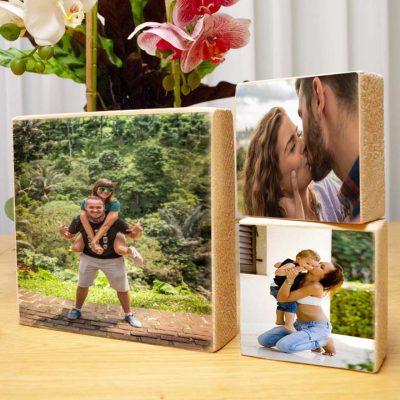 הדפסה על בלוק עץ טבעי שלישיה 19X18 + זוג 10X10