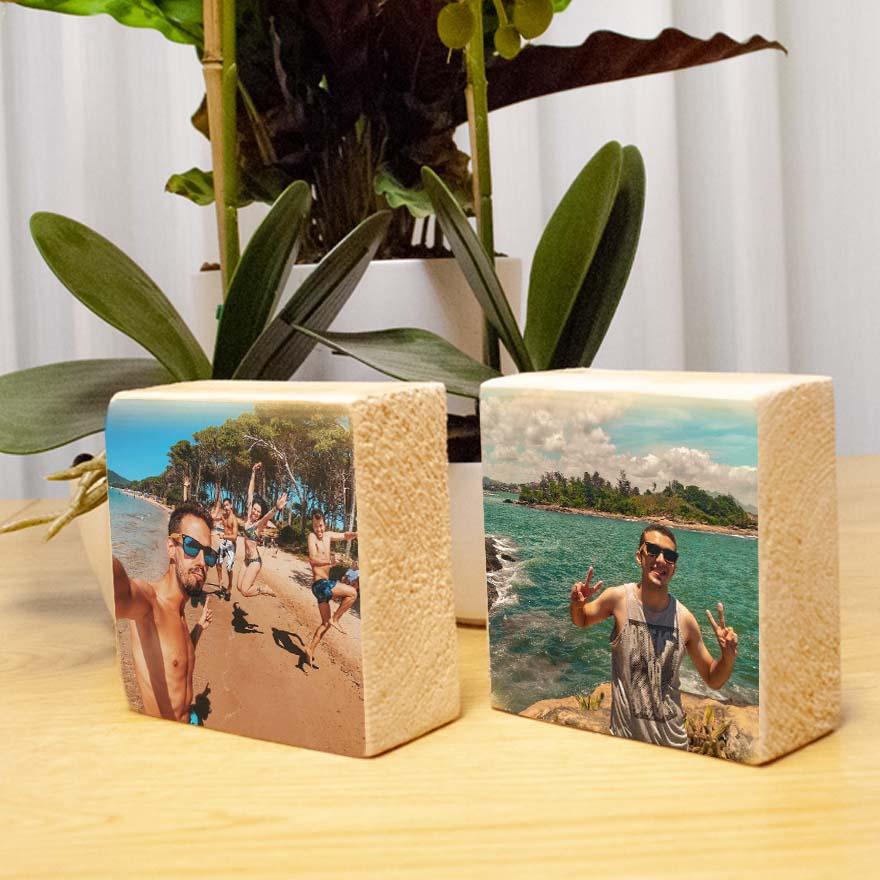 הדפסה על בלוק עץ טבעי סט זוגי 10X10