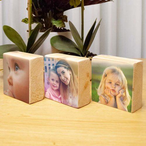 הדפסה על בלוק עץ טבעי סט שלישיה 10X10